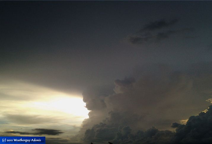"Fig. 3.0 ""An ominous thunderstorm activity which I took photo of on Sunday, 22 April 2012, 24-ft high above the ground over Iloilo City, Philippines. Image Courtesy: Weatherguy Adonis."""