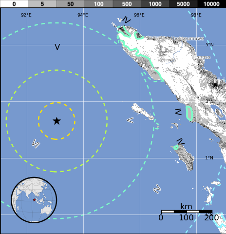 "Fig. 3.0 ""The first BIG Jolt that has struck off the Southwestern coast of Banda Aceh.   Image Courtesy: USGS."""