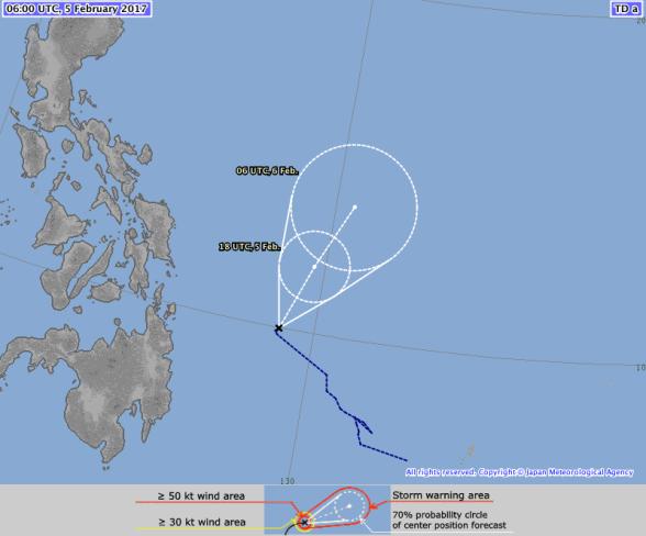 JMA Forecast Track, Tropical Depression (98W/Bising) - 5 February 2017 0600 UTC