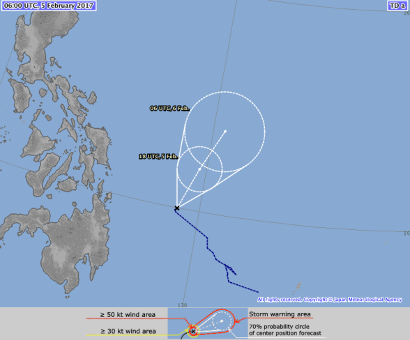 JMA Forecast Track, Tropical Depression (98W/Bising) - 5 February 2017 0600 UTC